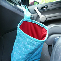 Car Trash Bag with Water Resistant PUL Lining for Gear Shift Teal Flowers & Bright Red Lining Washable Car Trash Bag/Waste Bag/Refuse Bag