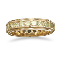 14 Karat Gold Plated Brass Ring with Green Cubic Zirconias