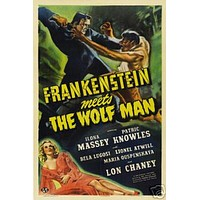 Frankenstein Meets The Wolf Man Vintage Movie Poster