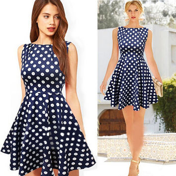 Elegant  polkadot  mini dress