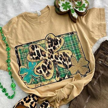 Bjaxx Lucky & Blessed Leopard Clovers Irish Front Print T-Shirt