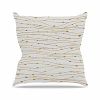 "888 Design ""Golden Stripes Pattern"" Abstract Gold Outdoor Throw Pillow"