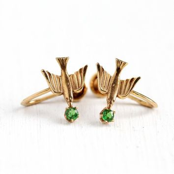 Tsavorite Garnet Earrings - Vintage 1950s 14k Rosy Yellow Gold Genuine .12 CTW Green Gemstones - Swallow Bird Screw Back Bright BDA Jewelry