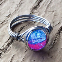 Handmade Wire Wrapped Ring Stainless Steel Light Blue/Pink Crackle Glass Bead