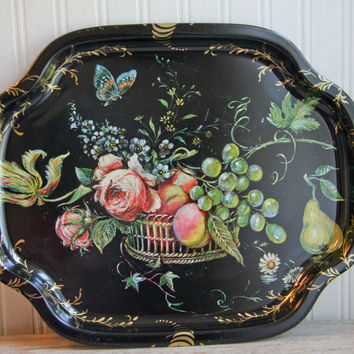 Vintage English Serving Tray - Black Painted Cabbage Roses Fruit
