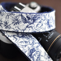 Blue Toile with Navy Minky - Padded Camera Strap for dSLR / SLR - Camera Accessories for Women