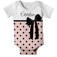 Personalized Onesuit, Baby Girl Bodysuit,  Pink Polka Dot Bow Baby Clothing