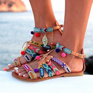 New women's ethnic style flat sandals shoes