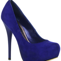 Royal Blue Suede Pin Up Gorgeous Heels