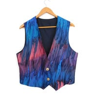 Sz L 90s Hand Painted Silk Vest - Women's Vintage Colorful Boho Waistcoat in Blue, Aubergine, Rose Marbled Silk - Size Large