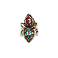 Butterfly Tibetan coral ring