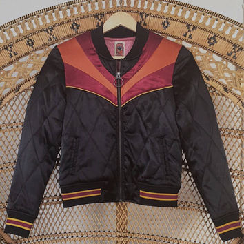 PREORDER Black Rising Sun Jacket    Quilted 70s style satin lightweight fall Jacket as seen on @classicrockcouture 1970s sunburst red orange