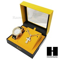 MEN TECHNO PAVE WATCH & CROSS PENDANT CUBAN CHAIN NECKLACE GIFT SET S72