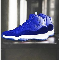 Bunchsun Air Jordan 11 Tide brand men's and women's sports cushioning basketball shoes blue