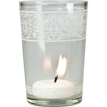 """BLOWOUT 3.25"""" Clear Aliz Painted Glass Candle Holder"""