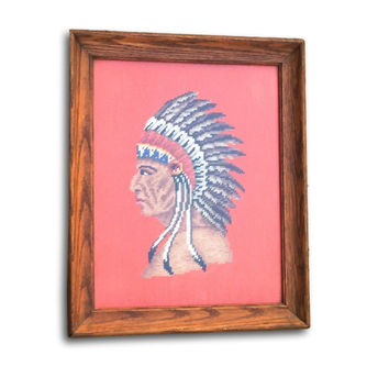 Native American Decorating Ideas l Medium Needlepoint Chief Wood Frame