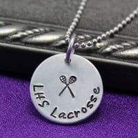 Lacrosse Necklace, Sports necklace, Lacrosse team necklace, Hand stamped necklace
