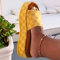 Dior GG Women's classic Slippers  GG sandals Strawberry platform shoes Yellow