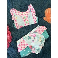 Summer Mixed Roses Two Piece Swimsuit