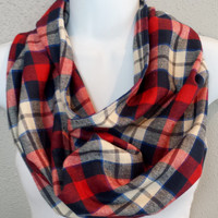 Nautical Toned Plaid Cowl Womens Fall Fashion Cowls Girls Winter Plaid Scarves Gift for Her Stocking Stuffer Trending Plaid Holiday Scarf