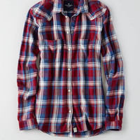 AEO Plaid Boyfriend Shirt, Burgundy