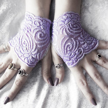 Satet Lace Fingerless Gloves - Micro Mittens - Lavender Purple Floral Scroll Embroidered - Wedding Gothic Lolita Bridal Spring Bridesmaid