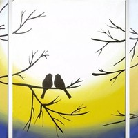 "ARTFINDER: original love bird abstract landscape ""Forever Together"" painting art canvas - 48 x 20 inches romance 3 other sizes available by Stuart Wright - A good sized original abstract canvas painting ..."