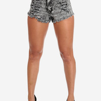 Trendy Shorts-Cute Ripped Shorts-High waist acid wash shorts
