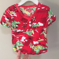 Toddler Hawaiian Shirt, Vintage Baby Hawaiian Shirt, Red Tropical Print Top, Short Sleeve Baby Shirt Toddler Shirt Unisex Baby Vintage Top 2