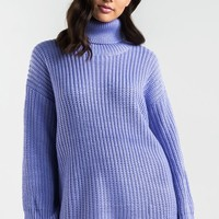 Long Sleeve Knitted Turtleneck Soft Sweater Dress in Lavender