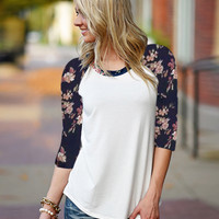 Block Floral Print Sleeve Shirt