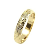 14K YELLOW GOLD CUSTOM HAND ENGRAVE HAWAIIAN QUEEN PLUMERIA SCROLL BAND RING 4MM