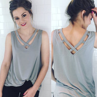 Chiffon Tops Sleeveless Hollow Out V-neck T-shirts [11148965967]