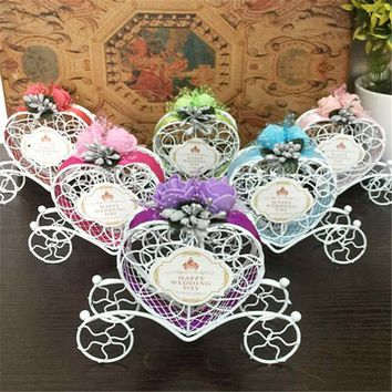 Wedding Decoration 1PC Romantic European Creative Iron Heart Shape Pumpkin Carriage Wedding Candy Box Favor and Gifts Supplies,8