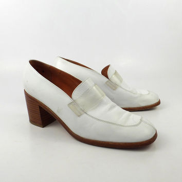 Space Robert Clergerie Loafers Vintage 1990s White Leather Barneys Shoes Women's 9