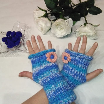 Fingerless Gloves, fingerless, Arm Warmers, finger gloves, arm sleeves, Blue gloves, light blue gloves, half finger gloves, blue, for woman
