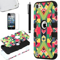 ULAK Hybrid Hard Pattern with Silicon Case Cover for Apple iPod Touch 5 Generation with Screen Protector and Stylus (Black / Geometry Pattern)