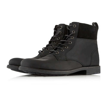 Black Leather Cuff Boots - Boots - Shoes and Accessories - TOPMAN