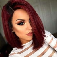 New Fashion Short Red None Lace Human Ombre Hair Wigs Bob Wig For Cosplay Party(Color:5Colors)