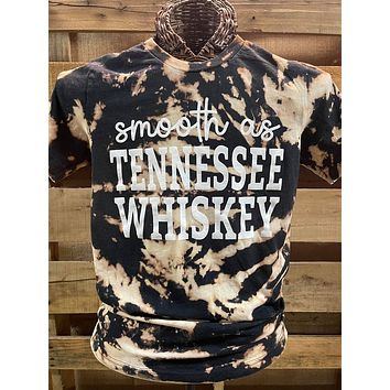Southern Chics Smooth as Tennessee Whiskey Bleached Canvas Girlie V-Neck T Shirt