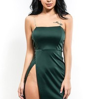 B| Chicloth Women Summer Sexy Deep Green Dress Metal Chain