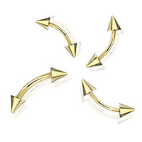 Gold Plated 14&16GA Curved Eyebrow Ring with Spikes