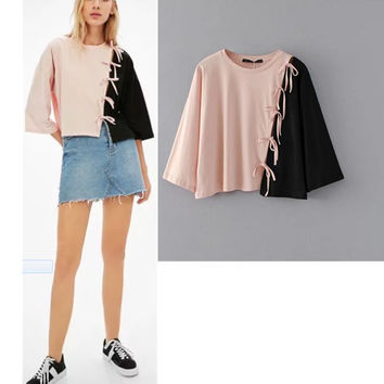 Summer Stylish Patchwork Butterfly Tops Women's Fashion T-shirts [11597197839]