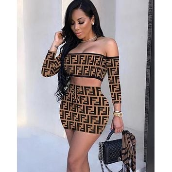 FENDI Summer Fashion Women Sexy Print Long Sleeve Off Shoulder Top Skirt Set Two-Piece Coffee
