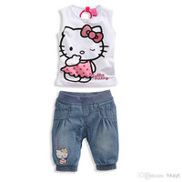 Children Clothes 2014 Baby/ Summer girls sleeveless T-shirt+casual cowboy Pants 2 pc Sets. Baby suit.