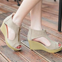 Fashion Women Shoes Summer Sandals Solid Casual Peep Toe Platform Wedges Sandals Shoes Ladies Suede exposed toe wedges 2017