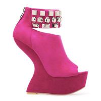 CHINESE LAUNDRY CAN CAN HEELLESS PLATFORM - PINK SUEDE