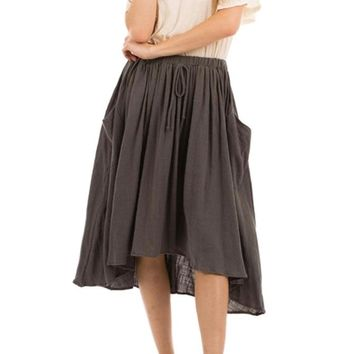 Cotton Circle Skirt with Pockets
