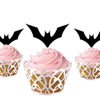 6 pcs in one set bat CupCake toppers cake decor for birthday party, acrylic cupcake toppers for baby shower, funny cake topper supplies