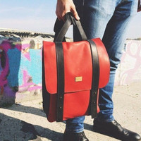 Backpack made of genuine leather handmade, leather backpack, handmade backpack, red backpack, school backpack, laptop backpack, rucksack men